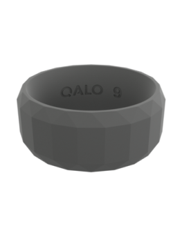 Qalo Men's Faceted Silicone Ring - Charcoal