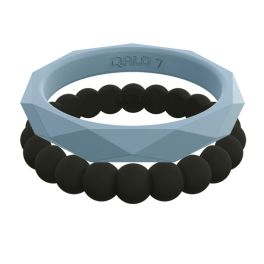 Qalo Women's Stackable Bands - Blue Flight/Black