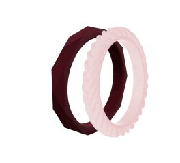 Qalo Women's Stackable Bands - Maroon & Blush