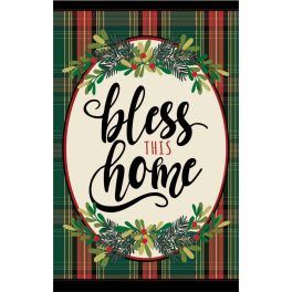Bless This Home Plaid Large House Flag
