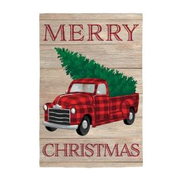 Holiday Plaid Truck Large House Flag