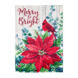 Merry & Bright Poinsettia Garden Flag