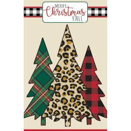 Mixed Print Christmas Trees Large House Applique Flag