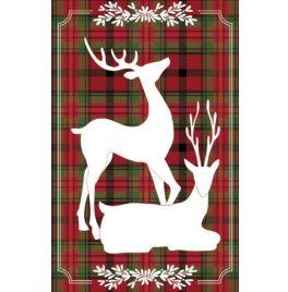 Plaid Reindeer Pair Garden Applique Flag