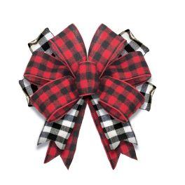 Black & Red Buffalo Check Door Tag Bow