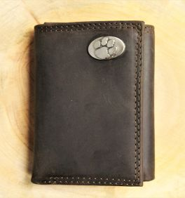 Clemson Brown Leather Tri-Fold Wallet