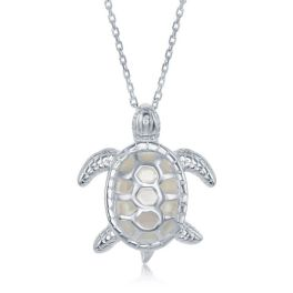 Sterling Silver White Mother Of Pearl Turtle Necklace
