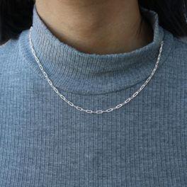 "Sterling Silver Small Paper Clip Chain - 18"""