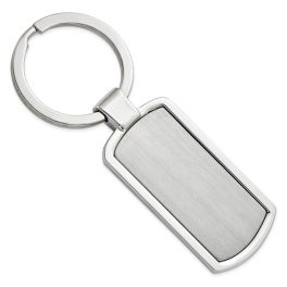 Rectangle Polished & Satin Key Ring