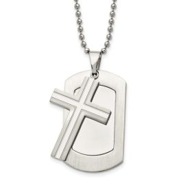 """Stainless Steel Brushed & Polished 2-Piece Cross Dog Tag Necklace - 24"""""""