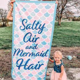 Salty Air And Mermaid Hair Quick Dry Beach Towel