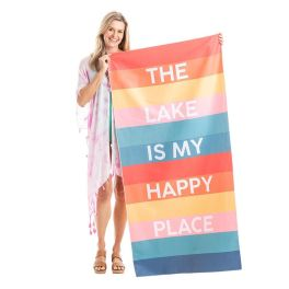 The Lake Is My Happy Place Quick Dry Beach Towel