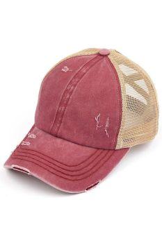 CC Pony Hat - Berry/Beige