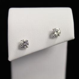 14K White Gold Diamond Stud Earrings - 1CT`