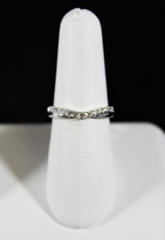 14K White Gold Diamond Curve Band - .16CT