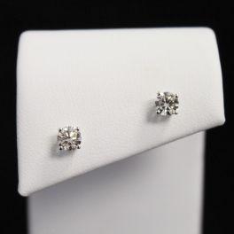 14K White Gold Diamond Stud Earrings - .75CT
