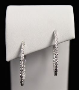 14K White Gold Diamond Hoop Earrings - 1CT