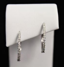10K White Gold Diamond Hoop Earrings - .50CT