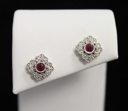 10K White Gold Diamond & Red Stone Necklace - .15CT
