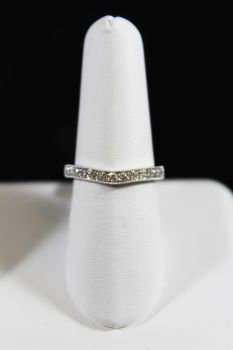 14K White Gold Diamond Curved Band with Milgrain Edge - .40CT