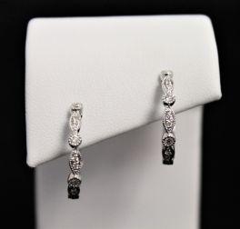 14K White Gold Diamond Hoops - .50CT