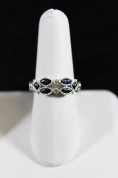 10K White Gold Diamond & Sapphire Ring