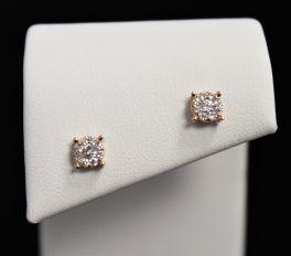 10K Rose Gold Diamond Cluster Earrings - .27CT