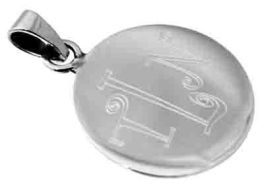 Sterling Silver Round Engravable Pendant With Bail