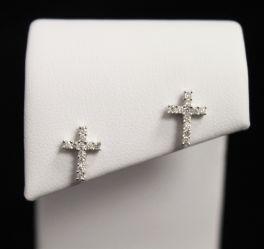 10K White Gold Diamond Cross Earrings - .06CT