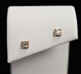 10K Rose Gold Diamond Cluster Earrings - .14CT