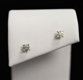 10K White Gold Diamond Cluster Earrings - .07CT