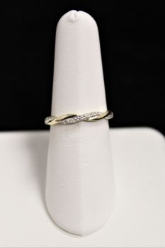10K Yellow Gold Diamond Twist Wedding Band - .10CT
