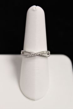 10K White Gold Diamond Twist Ring - .25CT