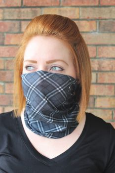 Adult Seamless Neck Gaiter - Grey Plaid
