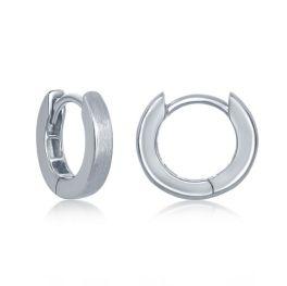 Sterling Silver Brushed Huggie Hoop Earrings - 3x13mm