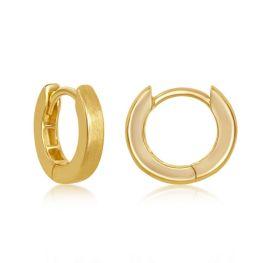 Sterling Silver Gold Plated Brushed Huggie Hoop Earrings - 3x13mm