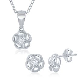Sterling Silver Small Flower With CZ Necklace & Earring Set