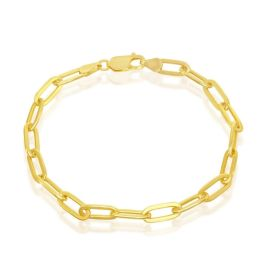 Sterling Silver Gold Plated 4mm Paper Clip Bracelet - 7""