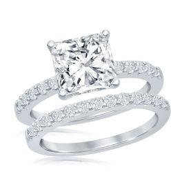 Sterling Silver Princess Cut Half CZ Engagement Ring Set