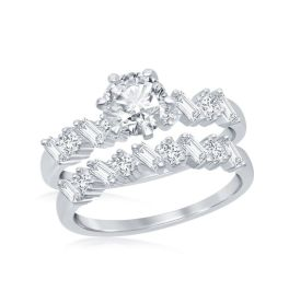 Sterling Silver Multi-Shaped Half Band Baguette CZ Engagement Ring