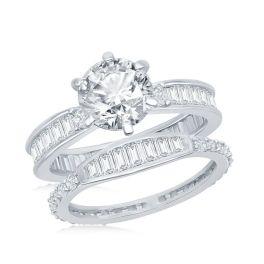 Sterling Silver Baguette CZ Band Engagement Ring Set
