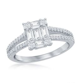 Sterling Silver Baguette CZ Emerald-Cut Open Band Engagement Ring