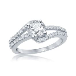 Sterling Silver Round Double Band CZ Engagement Ring