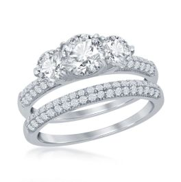 Sterling Silver 3-Stone Half Micro Pave Band Engagement Ring Set