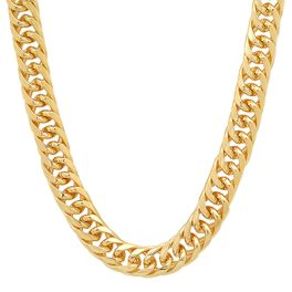 Yellow Gold Electroplated 10mm Cuban Link Chain - 18""