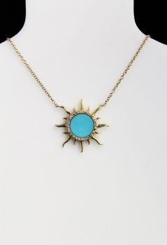 14K Yellow Gold Diamond & Turquoise Sun Necklace - .09CT