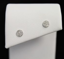 14K White Gold Diamond Circle Stud Earrings - .07CT