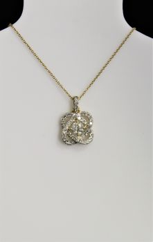 14K Yellow Gold Diamond Love Knot Necklace