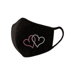 Adult Rhinestone Face Mask - Hearts