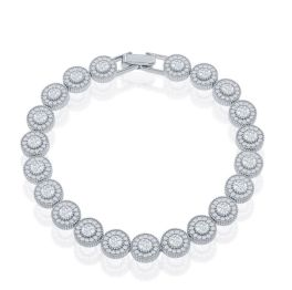 Sterling Silver Round Halo Micro Pave Tennis Bracelet - 7 Inch